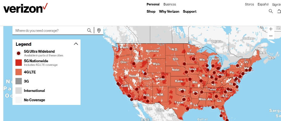 verizon 5g tower map